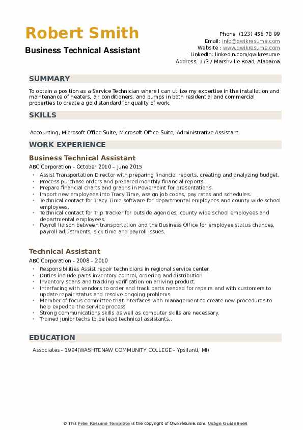 Business Technical Assistant Resume Format