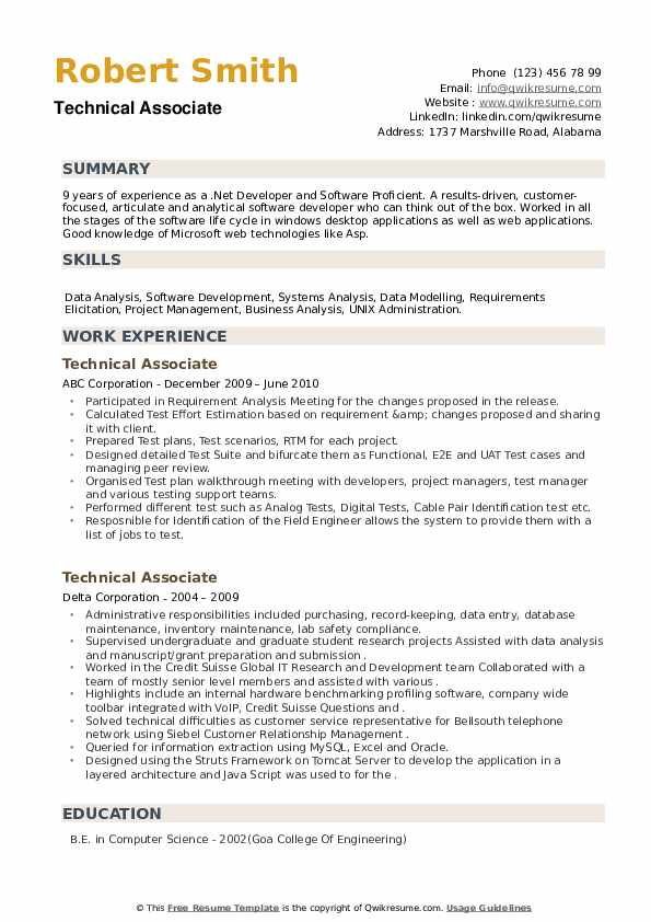Technical Associate Resume example