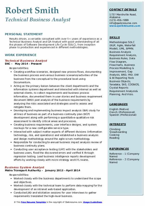 Technical Business Analyst Resume Template