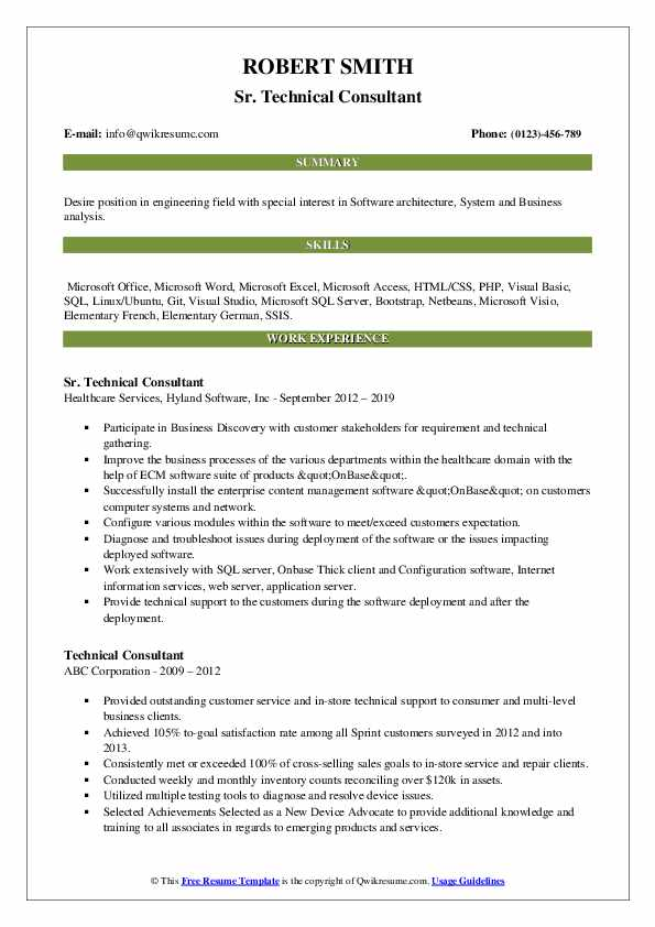 Sr. Technical Consultant Resume Example