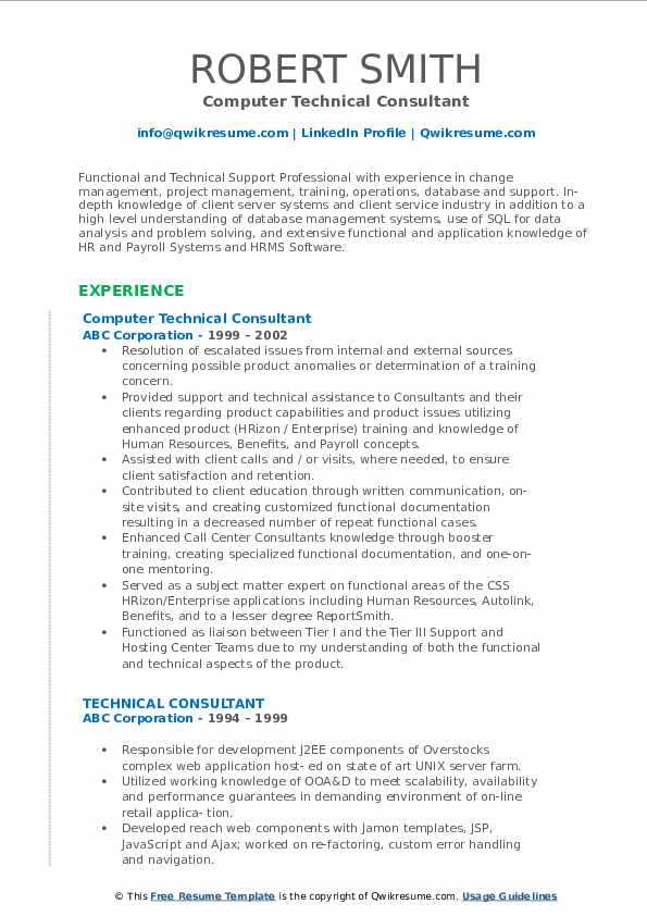 Computer Technical Consultant Resume Format