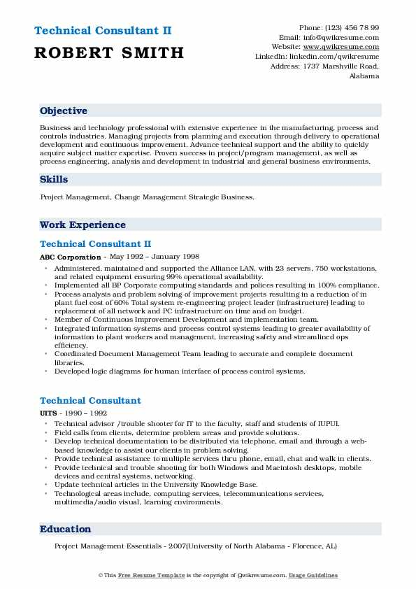 Technical Consultant II Resume Sample