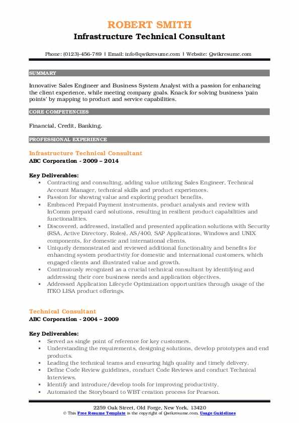 Infrastructure Technical Consultant Resume Format