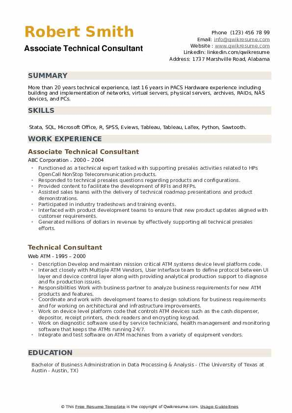Associate Technical Consultant Resume Example