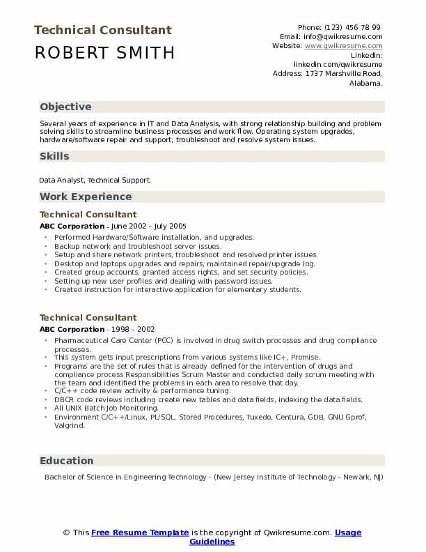 Technical Consultant Resume example