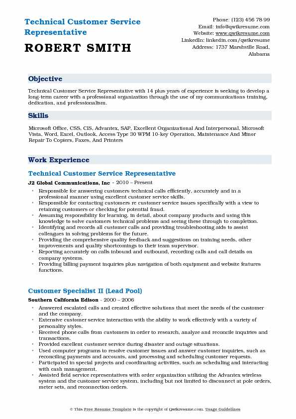 Technical Customer Service Representative Resume Example