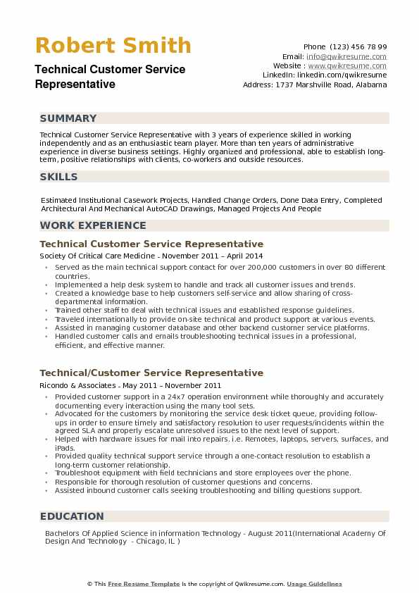 Technical Customer Service Representative Resume Samples Qwikresume