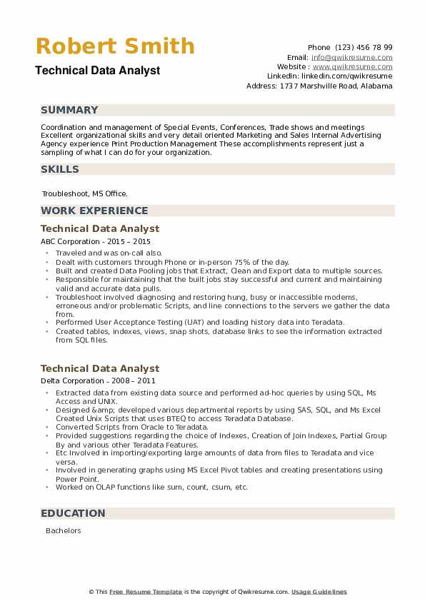 Technical Data Analyst Resume example