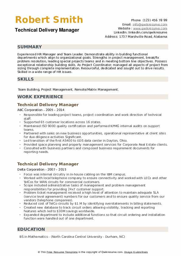 Technical Delivery Manager Resume example