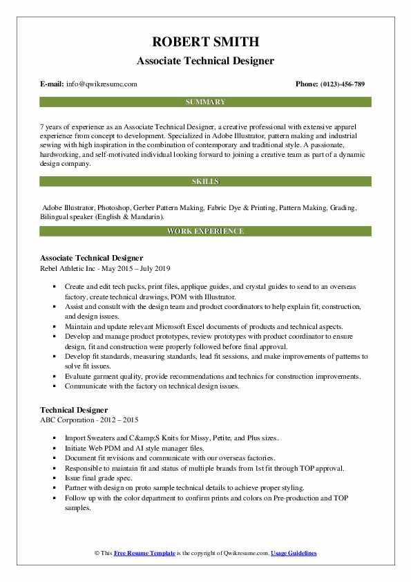 Associate Technical Designer Resume Model