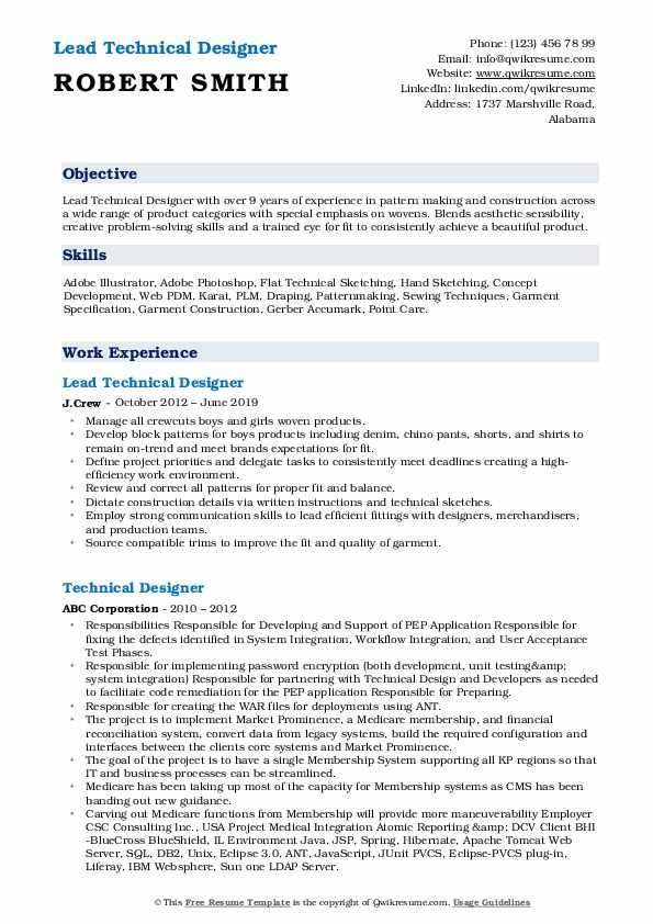 Lead Technical Designer  Resume Sample