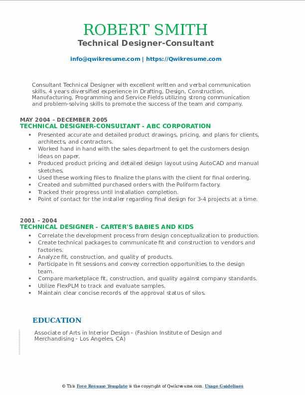 Technical Designer-Consultant Resume Example
