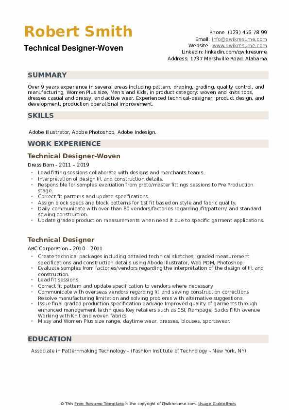 Technical Designer-Woven Resume Sample