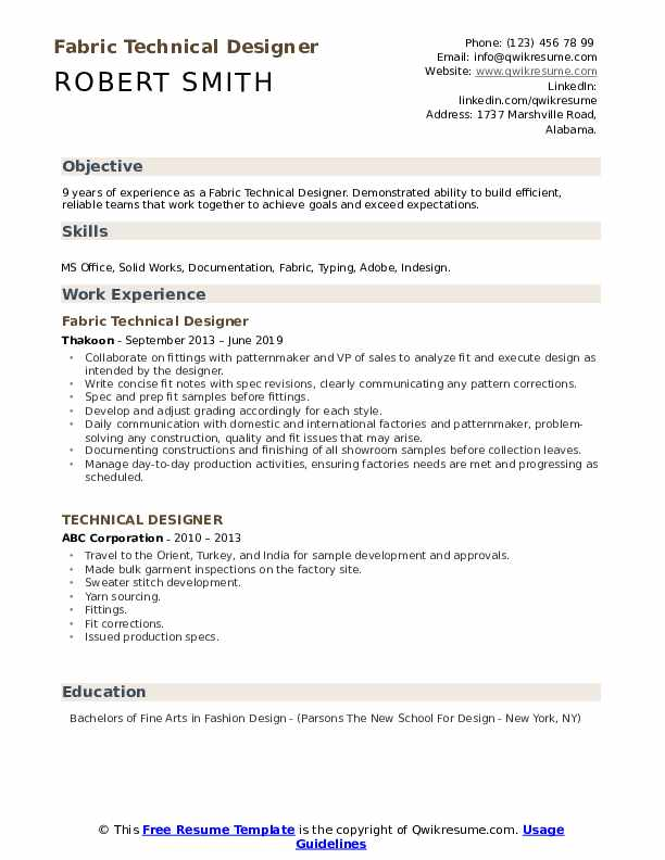 Technical Designer Resume Samples Qwikresume