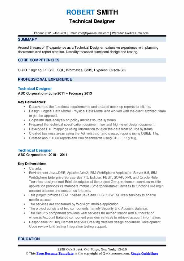 Technical Designer Resume example