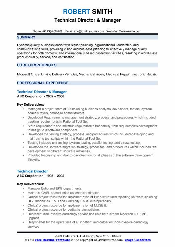 Technical Director & Manager Resume Sample