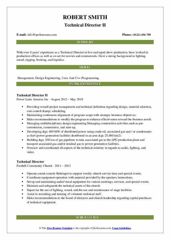 Technical Director II Resume Example