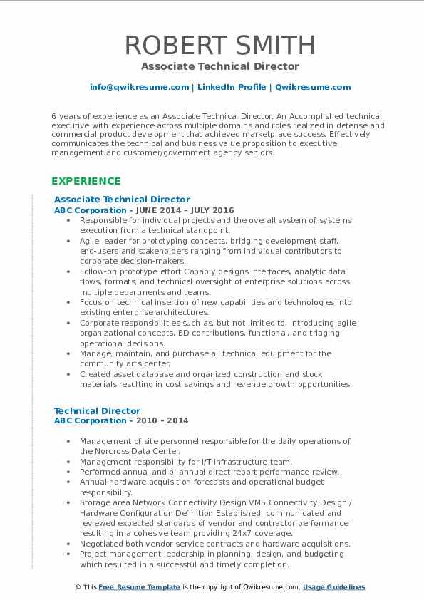 Associate Technical Director Resume Example