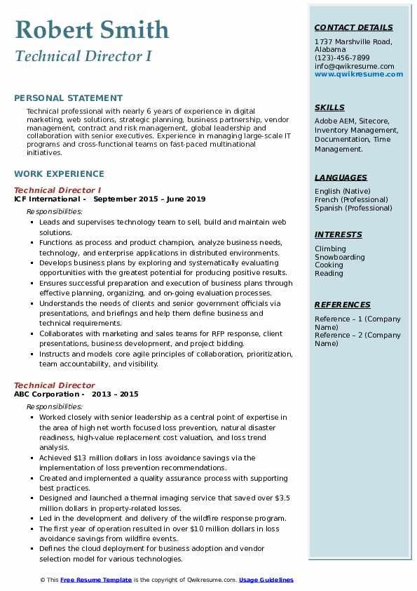 Technical Director I Resume Model