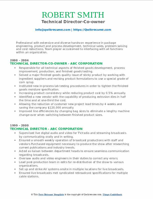 Technical Director-Co-owner Resume Format