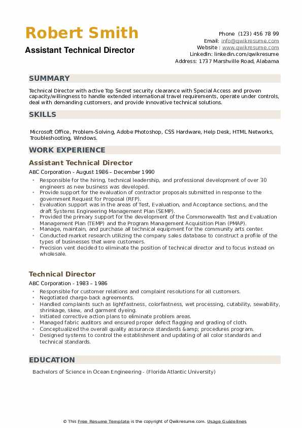 Assistant Technical Director Resume Format