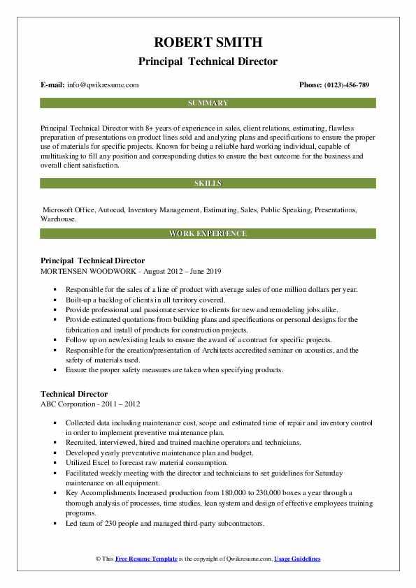 Principal  Technical Director Resume Model