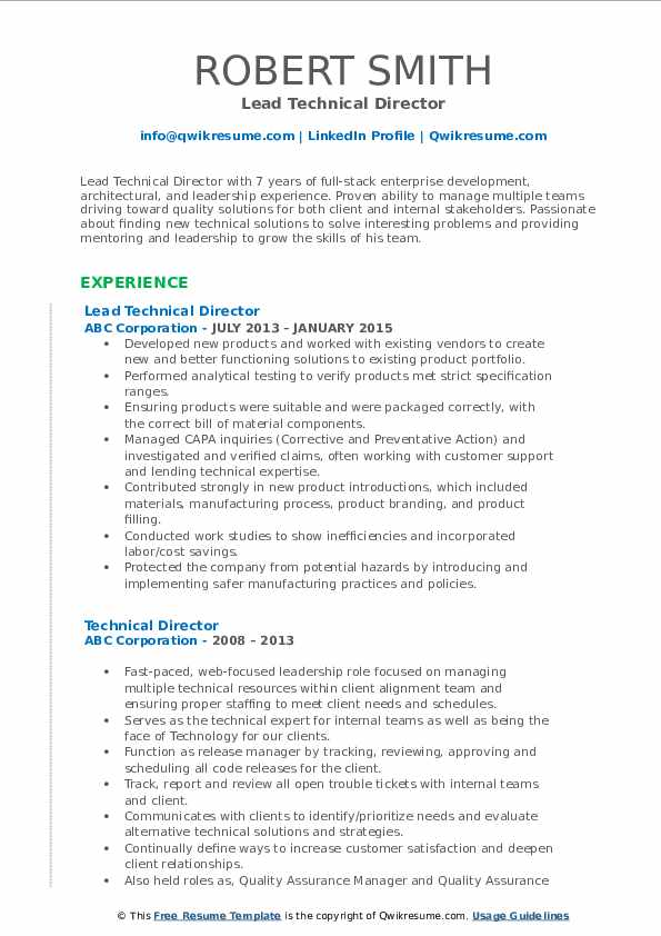 Lead Technical Director Resume Model
