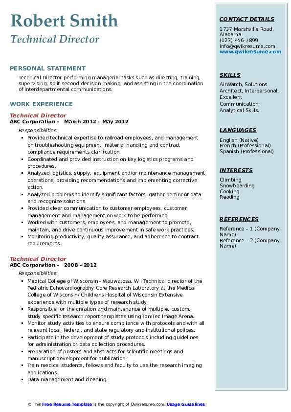 Technical Director Resume example