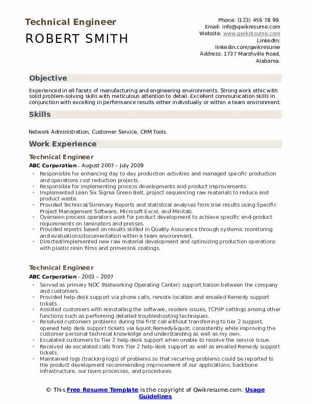 Technical Engineer Resume Model