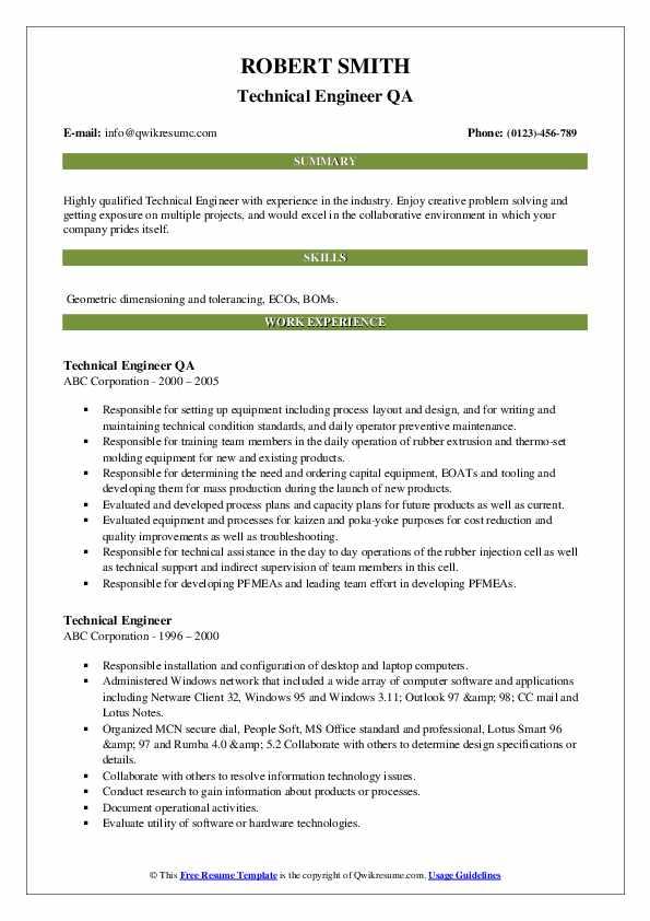 Technical Engineer QA Resume Model