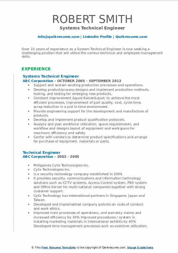 Systems Technical Engineer Resume Example