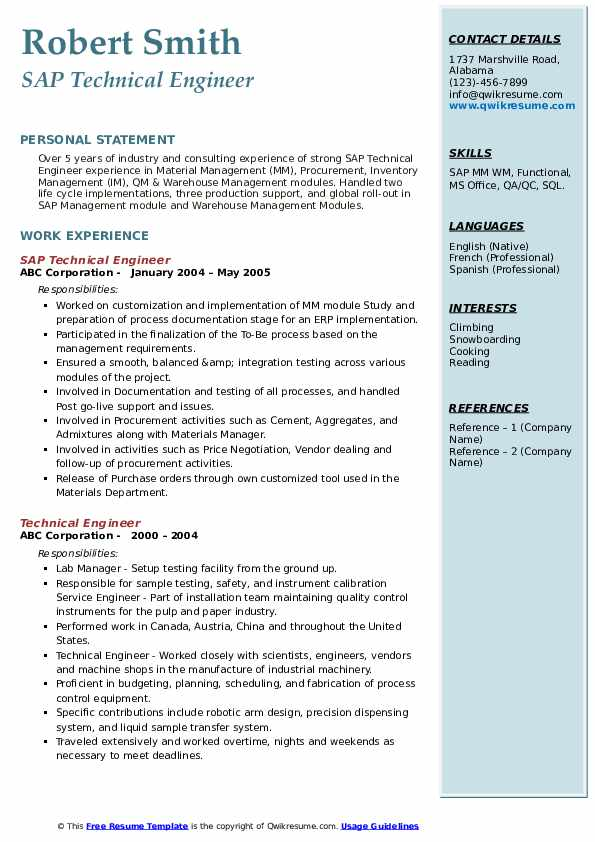 SAP Technical Engineer Resume Example