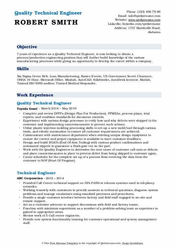 Quality Technical Engineer Resume Sample