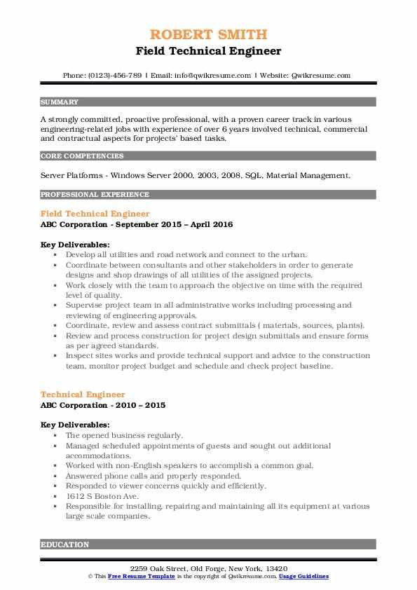 Field Technical Engineer Resume Model