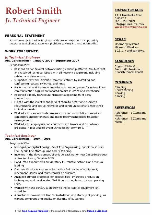 Jr. Technical Engineer Resume Model