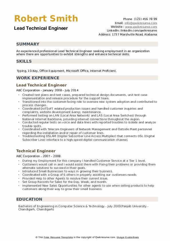 Lead Technical Engineer Resume Sample