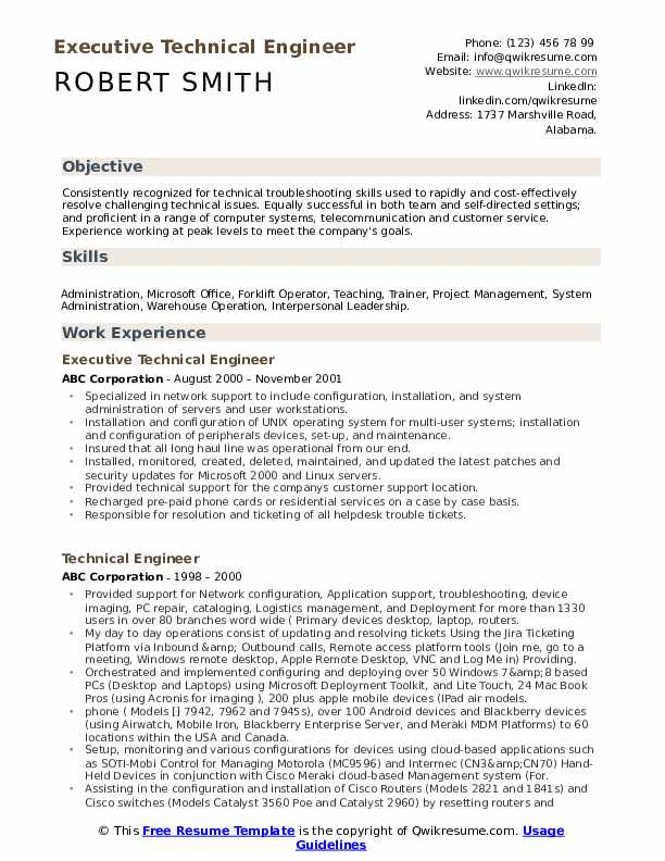 Executive Technical Engineer Resume Format