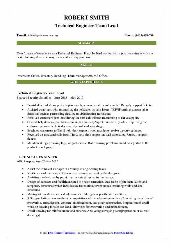 Technical Engineer-Team Lead Resume Example