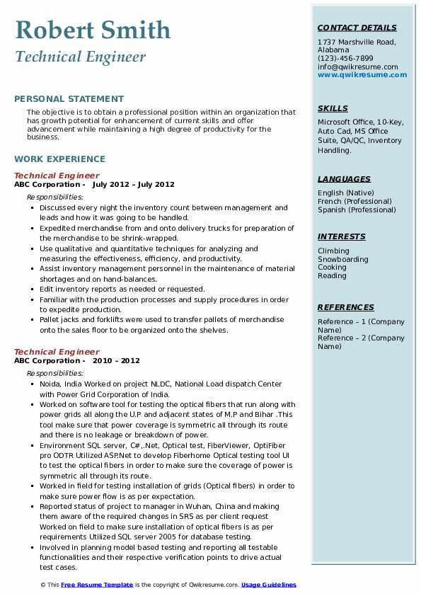 Technical Engineer Resume example
