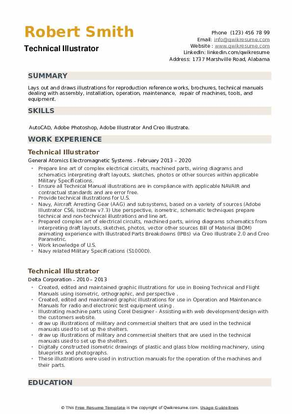 Technical Illustrator Resume example