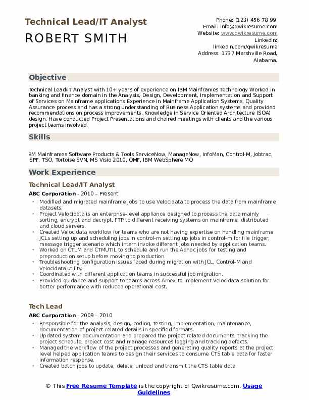 technical lead resume samples