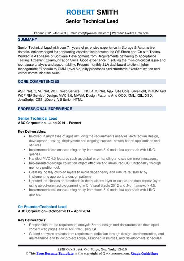 Technical Lead Resume Samples Qwikresume