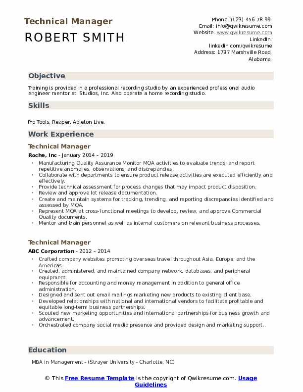Technical Manager Resume Samples Qwikresume