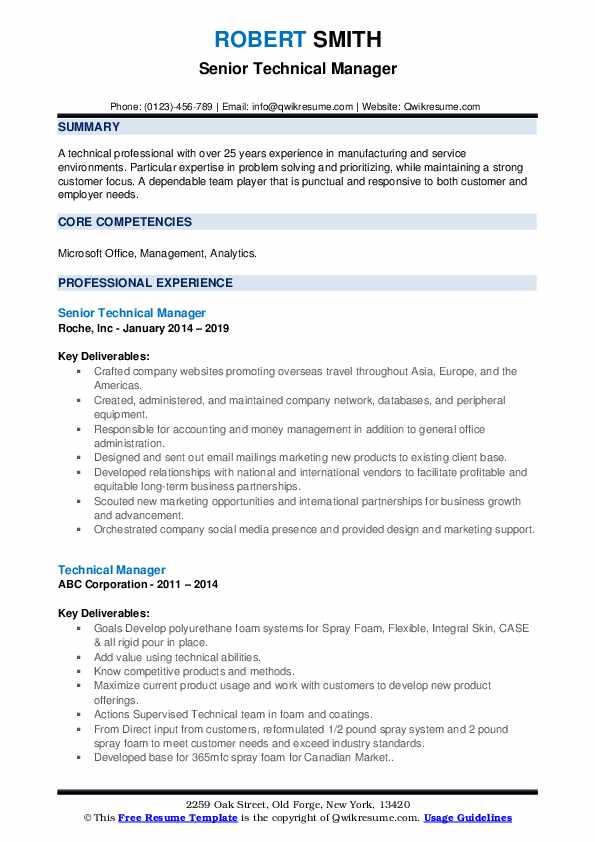 Senior Technical Manager Resume Sample