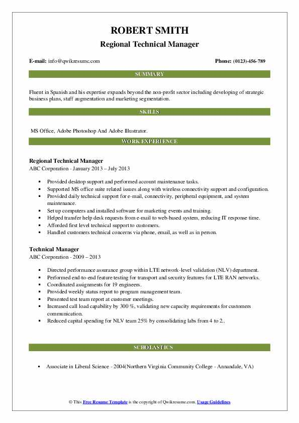 Regional Technical Manager Resume Format