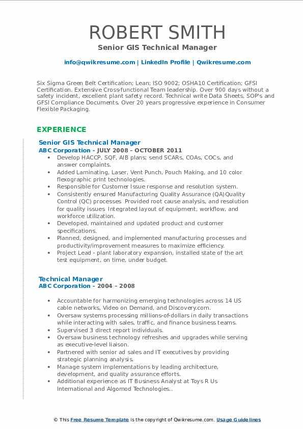Senior GIS Technical Manager Resume Example