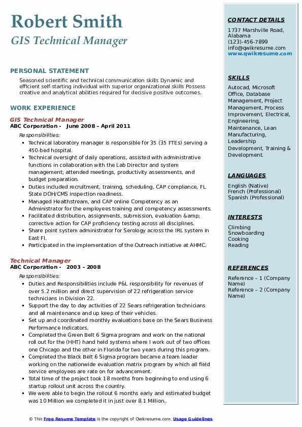 GIS Technical Manager Resume Sample