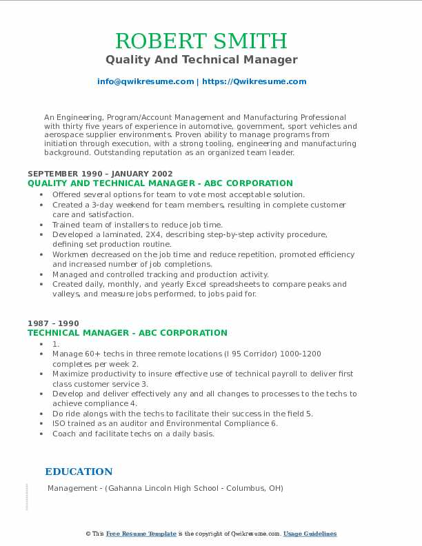 Quality And Technical Manager Resume Sample