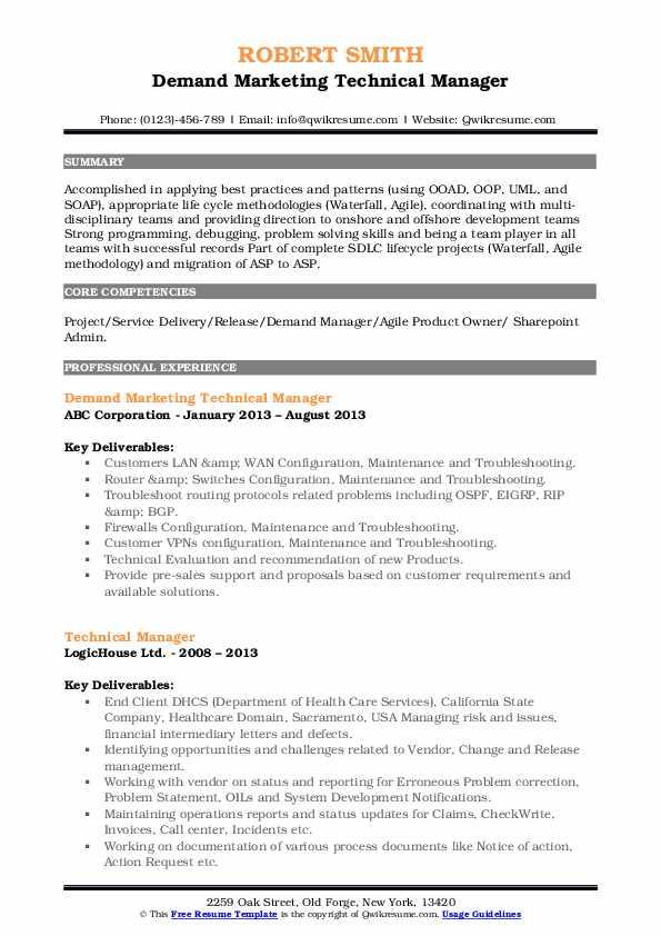 Demand Marketing Technical Manager Resume Model