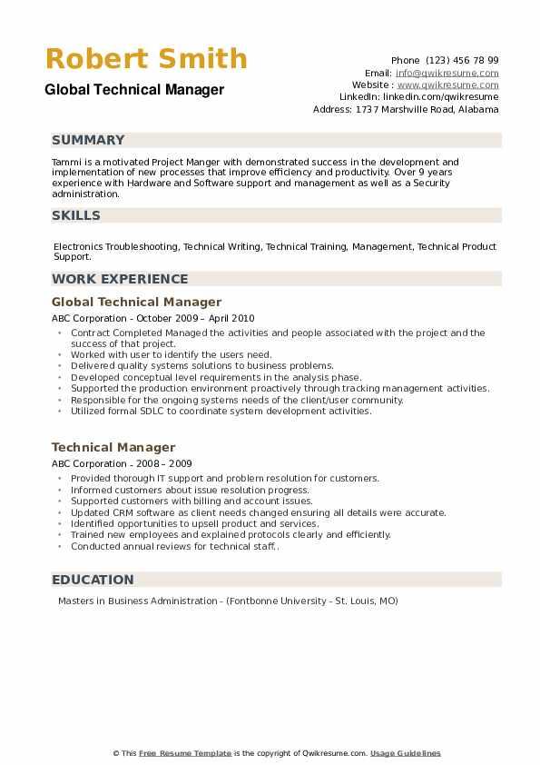 Global Technical Manager Resume Sample